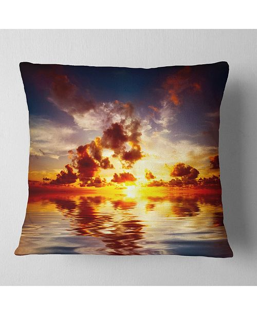 "Design Art Designart Caribbean Sunset With Beautiful Sky Seashore Throw Pillow - 16"" X 16"""