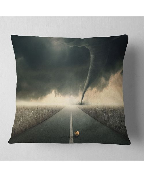 "Design Art Designart Yellow Rose On The Dark Road Landscape Printed Throw Pillow - 18"" X 18"""