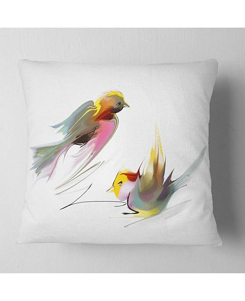 "Design Art Designart Flying Birds Illustration Animal Throw Pillow - 16"" X 16"""