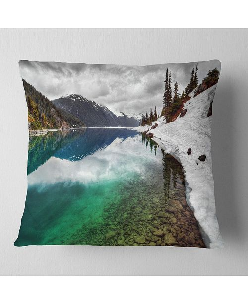 "Design Art Designart Clear Lake Pine Trees And Mountains Landscape Printed Throw Pillow - 18"" X 18"""