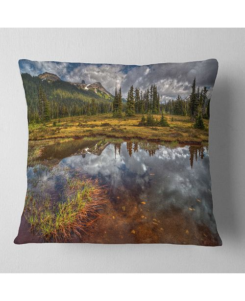 "Design Art Designart Clear Lake Mirroring Cloudy Skies Landscape Printed Throw Pillow - 16"" X 16"""