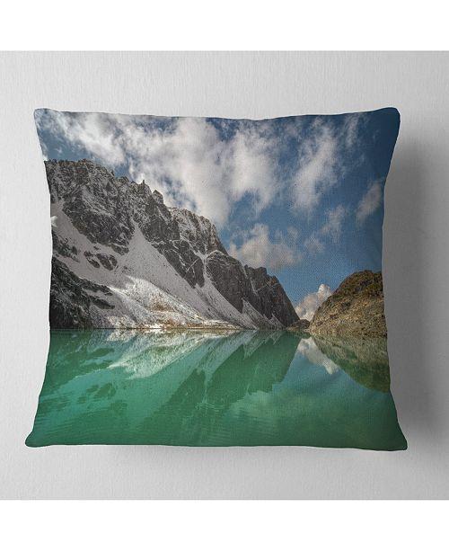 Design Art Designart Clear Mountain Lake Under Bright Sky Landscape Printed Throw Pillow 16 X 16 Reviews Decorative Throw Pillows Bed Bath Macy S