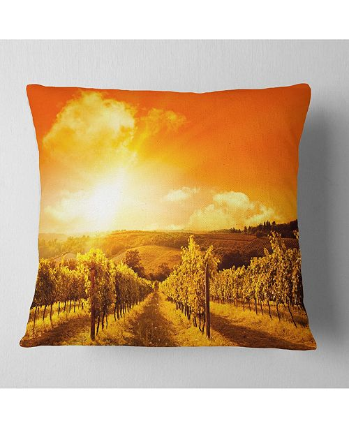 "Design Art Designart Scenic Sunset Road In Italy Landscape Printed Throw Pillow - 16"" X 16"""