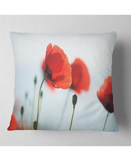 "Design Art Designart Poppies On Background Of Sea Floral Throw Pillow - 16"" X 16"""
