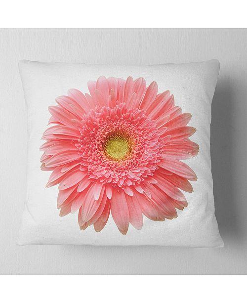 "Design Art Designart Single Daisy On White Background Floral Throw Pillow - 16"" X 16"""