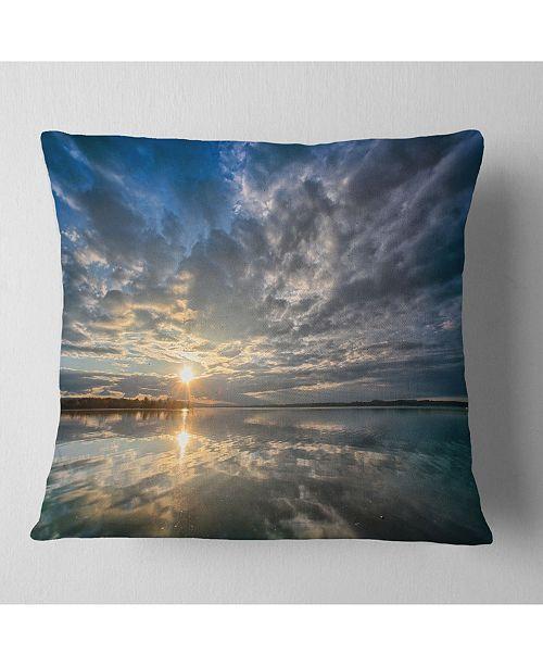 "Design Art Designart Sunset With Dramatic Sky And Sea Seashore Throw Pillow - 16"" X 16"""