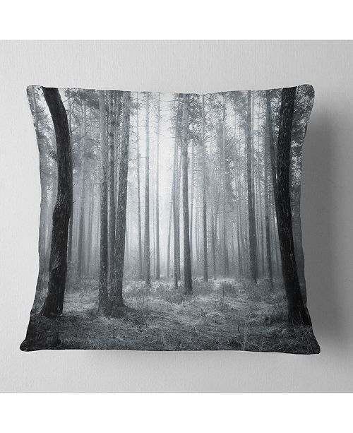 "Design Art Designart Black And White Foggy Forest Forest Throw Pillow - 18"" X 18"""