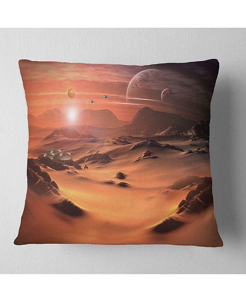 """Design Art Designart Alien Planet 3D Rendered Computer Art Landscape Printed Throw Pillow - 18"""" X 18"""""""