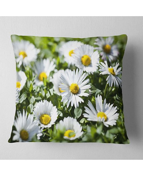 "Design Art Designart Spring Background With White Flowers Floral Throw Pillow - 18"" X 18"""