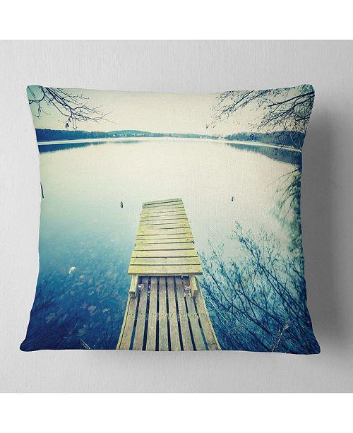 "Design Art Designart Sunset Over Tranquil Lake Bridge Throw Pillow - 16"" X 16"""