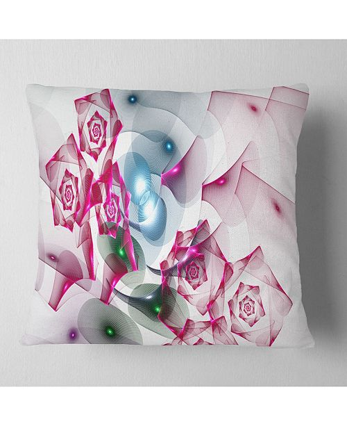 "Design Art Designart Pink Roses Fractal Design Abstract Throw Pillow - 18"" X 18"""
