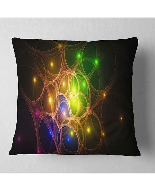 "Design Art Designart Yellow Fractal Space Circles Abstract Throw Pillow - 18"" X 18"""