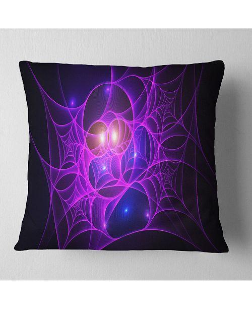 "Design Art Designart Bright Purple Fractal Cobweb Abstract Throw Pillow - 18"" X 18"""