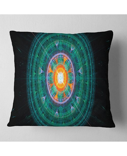 """Design Art Designart Cabalistic Turquoise Fractal Sphere Abstract Throw Pillow - 16"""" X 16"""""""