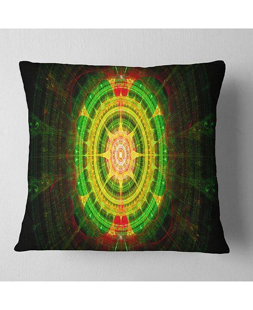"""Design Art Designart Bright Green Fractal Sphere Abstract Throw Pillow - 18"""" X 18"""""""