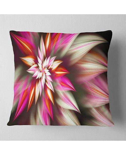 """Design Art Designart Exotic Red Fractal Spiral Flower Abstract Throw Pillow - 18"""" X 18"""""""