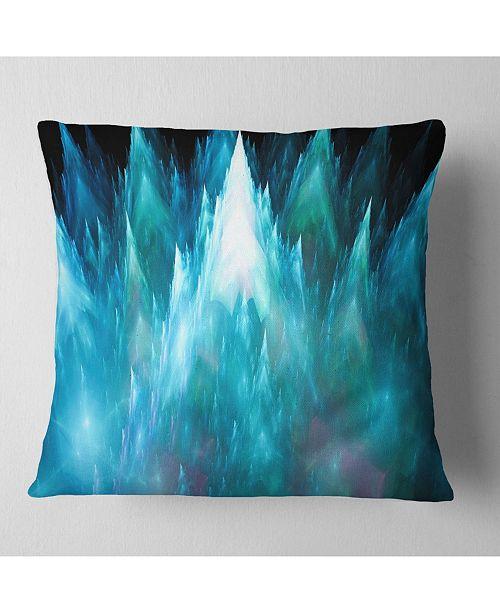"""Design Art Designart Blue Fractal Crystals Design Abstract Throw Pillow - 18"""" X 18"""""""