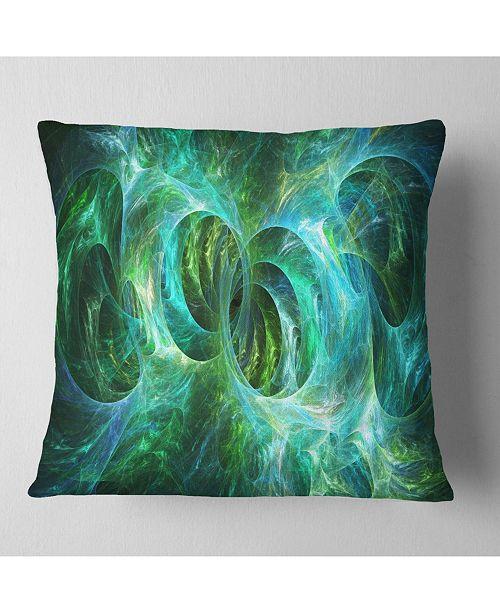"""Design Art Designart Blue Fractal Ornamental Glass Abstract Throw Pillow - 18"""" X 18"""""""