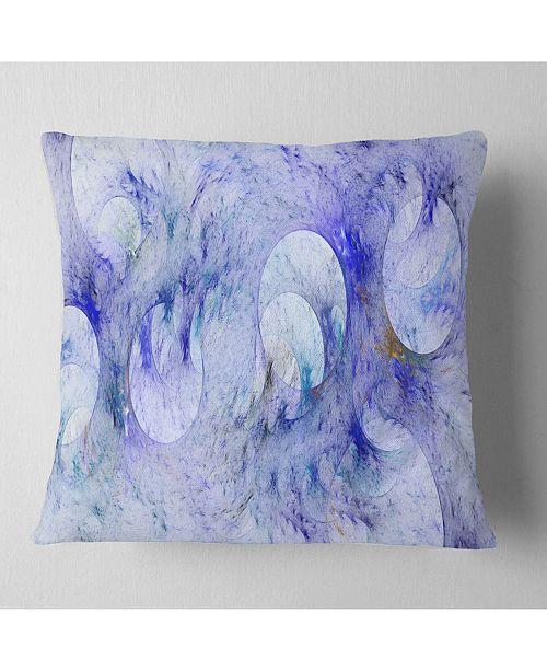 """Design Art Designart Light Blue Fractal Glass Texture Abstract Throw Pillow - 16"""" X 16"""""""
