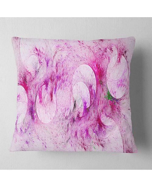 """Design Art Designart Pink White Fractal Glass Texture Abstract Throw Pillow - 16"""" X 16"""""""