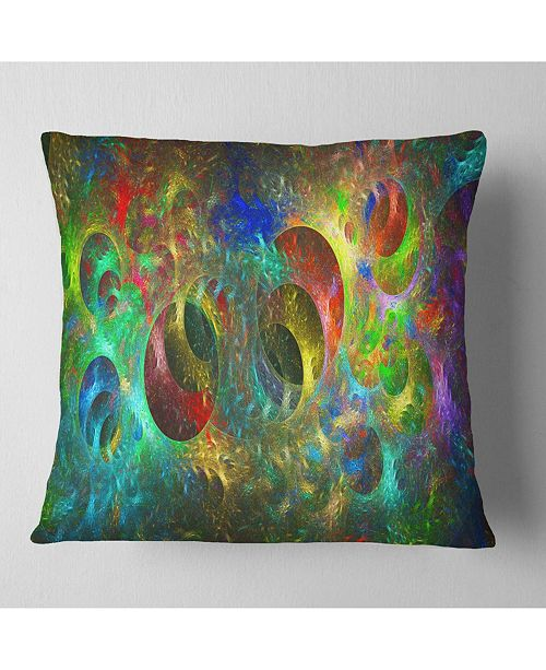 "Design Art Designart Multi Color Glowing Circles Abstract Throw Pillow - 18"" X 18"""