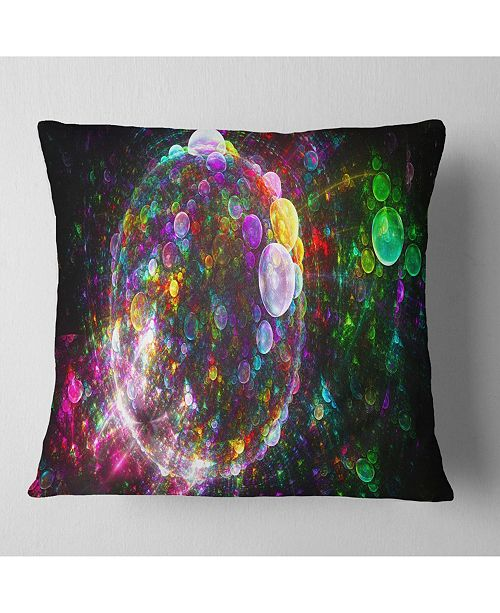 "Design Art Designart Multi Color Fractal Spherical Bubbles Abstract Throw Pillow - 16"" X 16"""