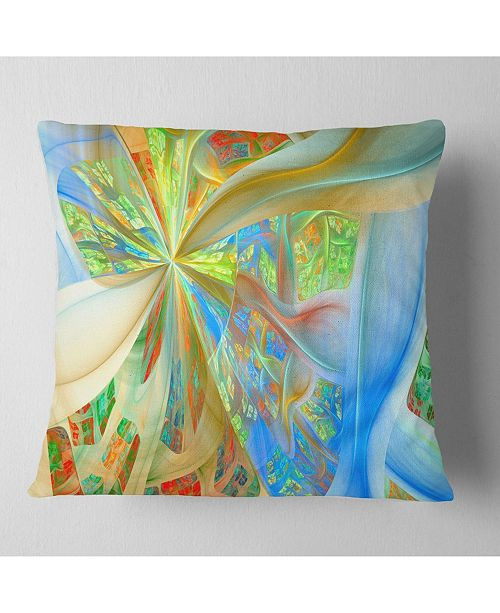 "Design Art Designart Yellow Fractal Exotic Plant Stems Abstract Throw Pillow - 18"" X 18"""