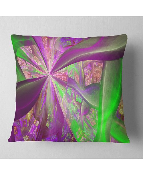 "Design Art Designart Pink Green Fractal Curves Abstract Throw Pillow - 16"" X 16"""