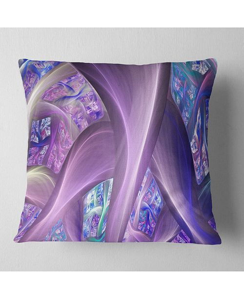 """Design Art Designart Purple Blue Fractal Curves Abstract Throw Pillow - 18"""" X 18"""""""