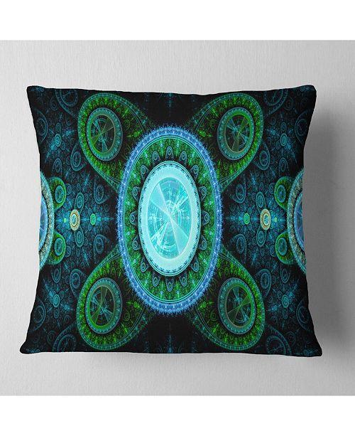 "Design Art Designart Bright Blue Psychedelic Relaxing Art Abstract Throw Pillow - 16"" X 16"""