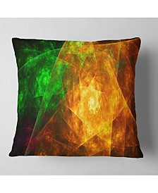 "Designart Yellow Rotating Polyhedron Abstract Throw Pillow - 26"" X 26"""
