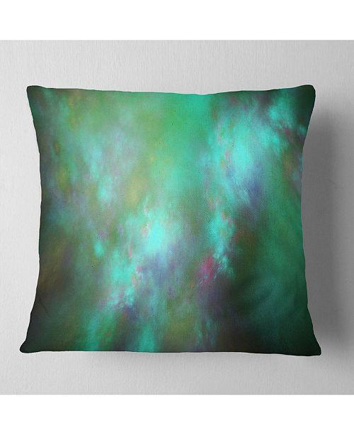"""Design Art Designart Blue Fractal Sky With Blur Stars Abstract Throw Pillow - 16"""" X 16"""""""