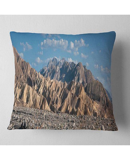 "Design Art Designart Beautiful Hills In Death Valley Abstract Throw Pillow - 18"" X 18"""