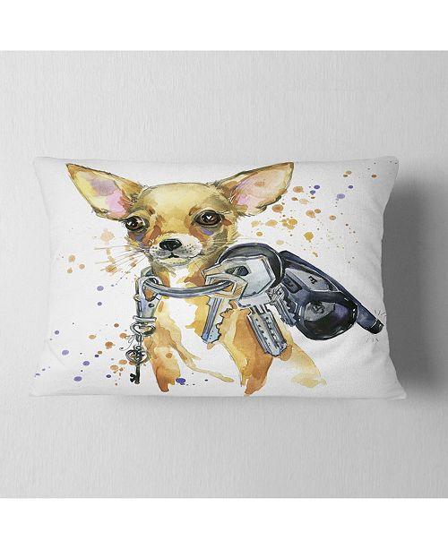 "Design Art Designart Brown Toy Terrier Dog Watercolor Abstract Throw Pillow - 12"" X 20"""