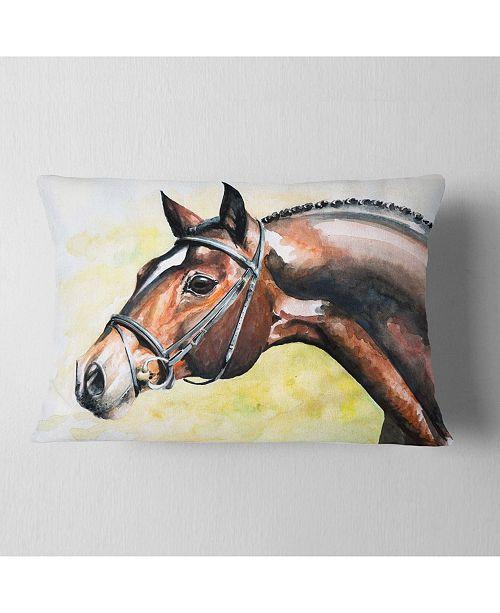 "Design Art Designart Brown Horse Portrait Painting Abstract Throw Pillow - 12"" X 20"""