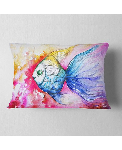 "Design Art Designart Blue Fish On Red Background Animal Throw Pillow - 12"" X 20"""