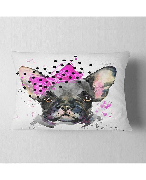 "Design Art Designart Serious French Bulldog Watercolor Animal Throw Pillow - 12"" X 20"""