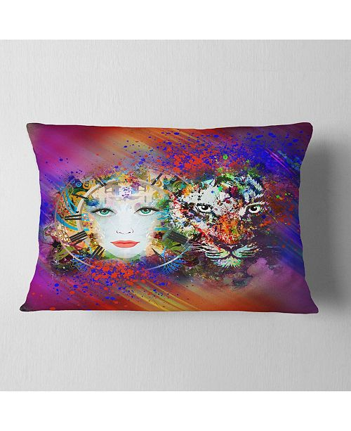 "Design Art Designart Colorful Tiger And Woman Face Abstract Throw Pillow - 12"" X 20"""