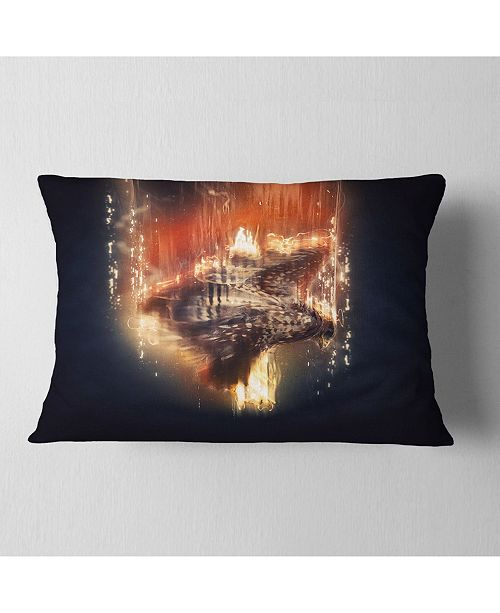 "Design Art Designart Large Falcon In Flight Animal Throw Pillow - 12"" X 20"""