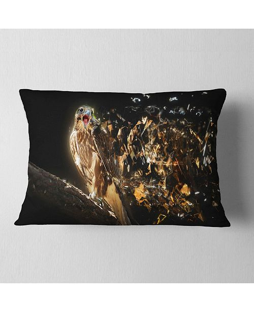 "Design Art Designart Falcon With Open Beak Animal Throw Pillow - 12"" X 20"""