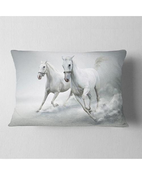 "Design Art Designart Running White Horses Animal Throw Pillow - 12"" X 20"""