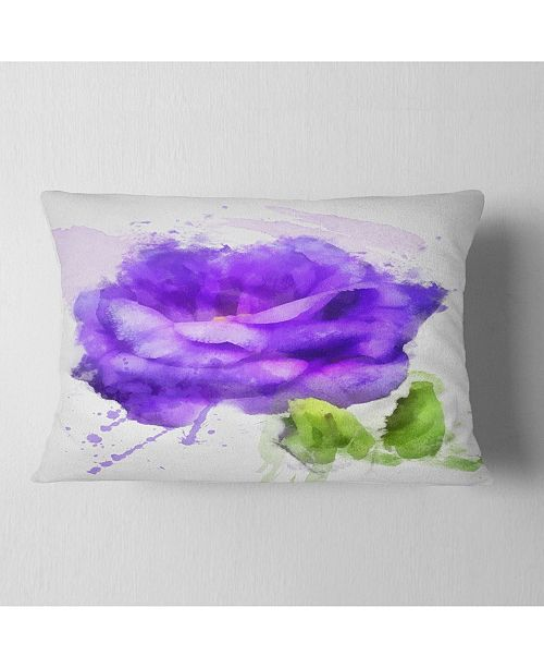 "Design Art Designart Blue Rose Flower With Paint Splashes Floral Throw Pillow - 12"" X 20"""