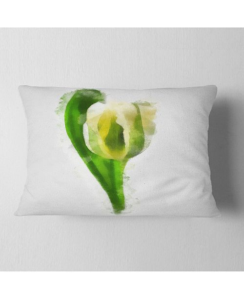 "Design Art Designart White Tulip With Green Leaves Floral Throw Pillow - 12"" X 20"""