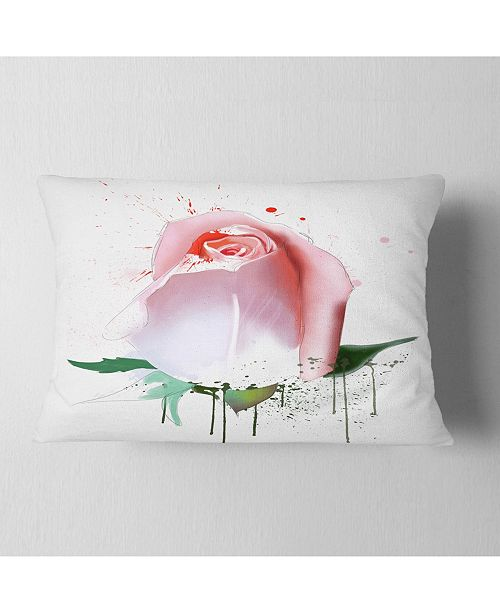 "Design Art Designart Pink Rose With Paint Splashes Floral Throw Pillow - 12"" X 20"""