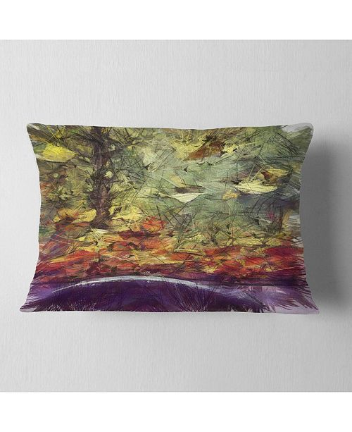 """Design Art Designart Abstract Fall Watercolor Drawing Landscape Printed Throw Pillow - 12"""" X 20"""""""
