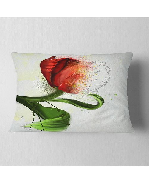 """Design Art Designart Big Red Flower With Green Leaves Floral Throw Pillow - 12"""" X 20"""""""