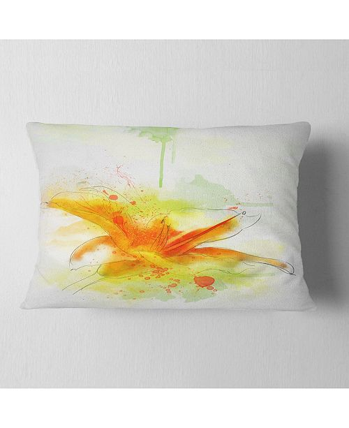 "Design Art Designart Yellow Red Flower With Color Splashes Floral Throw Pillow - 12"" X 20"""