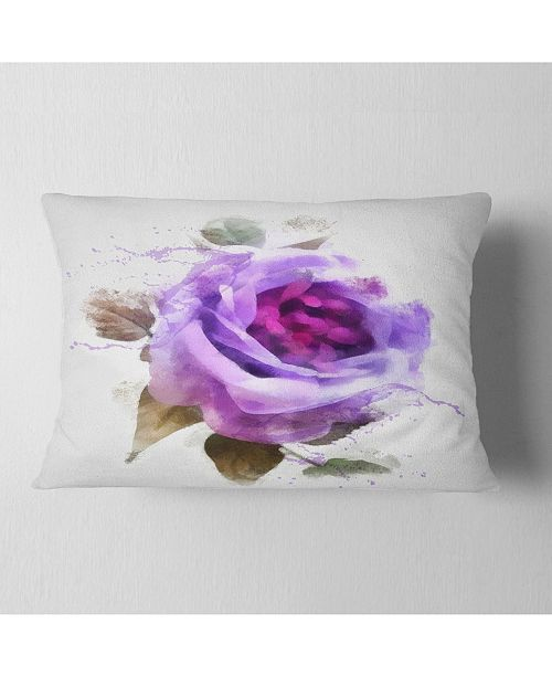 """Design Art Designart Watercolor Purple Rose With Leaves Floral Throw Pillow - 12"""" X 20"""""""