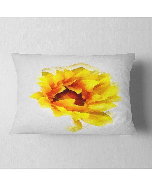 """Design Art Designart Yellow Watercolor Sunflower Floral Throw Pillow - 12"""" X 20"""""""