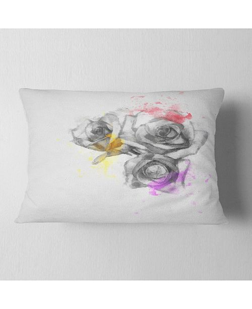 "Design Art Designart Black White Watercolor Rose Sketch Floral Throw Pillow - 12"" X 20"""